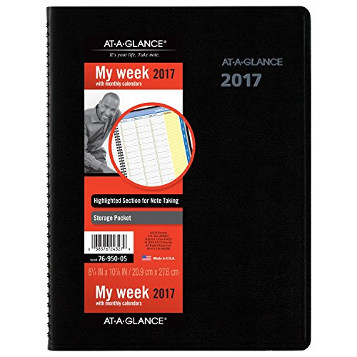 """AT-A-GLANCE Weekly / Monthly Appointment Book / Planner 2017, QuickNotes, 8-1/4 x 10-7/8"""", Black (7695005)"""