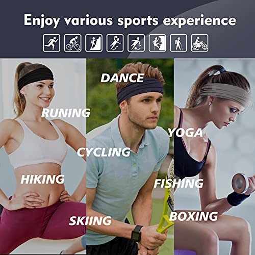 TAGVO Sports Headbands Elastic Headwraps Hair Bands Men Non-Slip Moisture Head Bands Sweat Headband For Running Workout Yoga Basketball Cycling Hiking 3 Pack