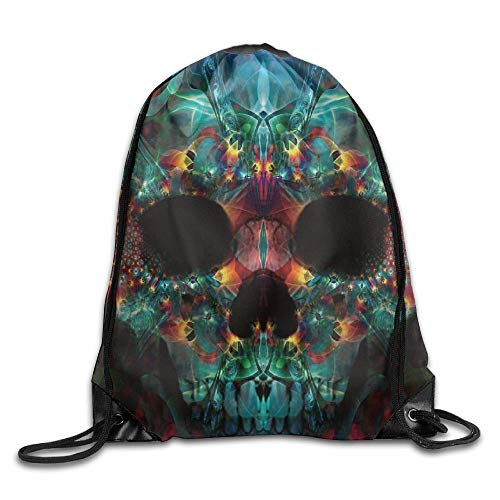 Etryrt Prämie Turnbeutel,Sporttaschen, Colorful Cool Fun Trippy Skull Cool Drawstring Travel Sports Backpack Gift