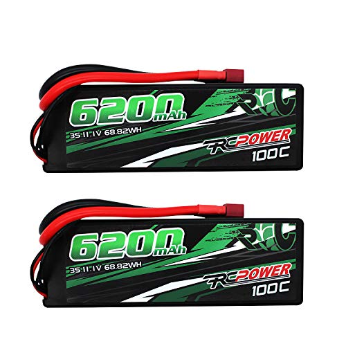 RCPOWER 11.1V 6200mAh 3S 100C Lipo Battery T Plug for RC Airplane, RC Quadcopter Helicopter Battery, RC Car/Truck, RC Boat DJI Airplane (2Packs)