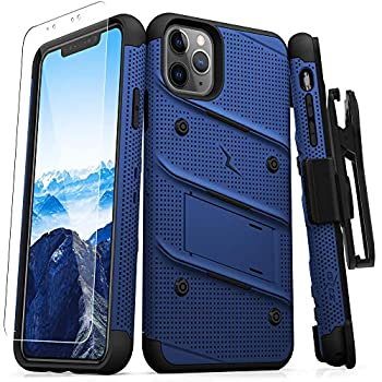 Zizo Bolt Cover - Case for iPhone 11 Pro with Military Grade + Glass Screen Protector & Kickstand and Holster  Blue/Black