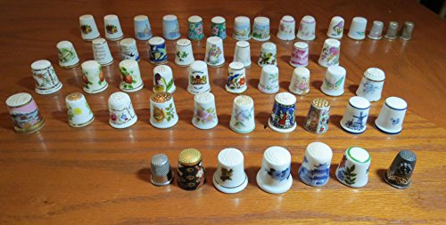 Find Discount Lot of 52 Vintage Antique Thimbles - Germany -Taiwan- Japan- Holland - Denmark - Engla...