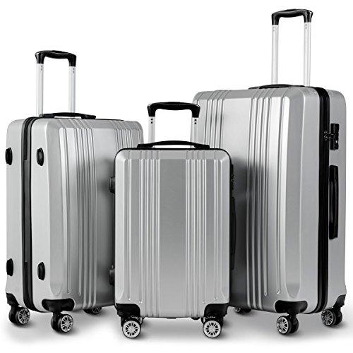 Goplus Luggage 3 Piece Set Expandable Lightweight Hardside Suitcase for Travel w/TSA Lock (Grey)