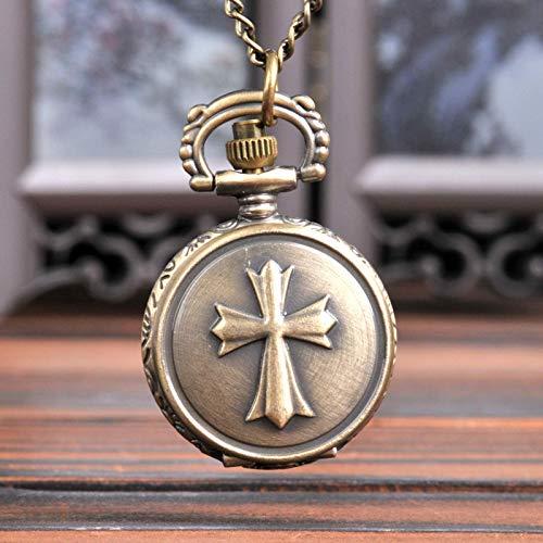 Reloj de bolsillo de bolsillo de los hombres Reloj de bolsillo de cuarzo cruzado de trompeta con collar regalo de las señoras