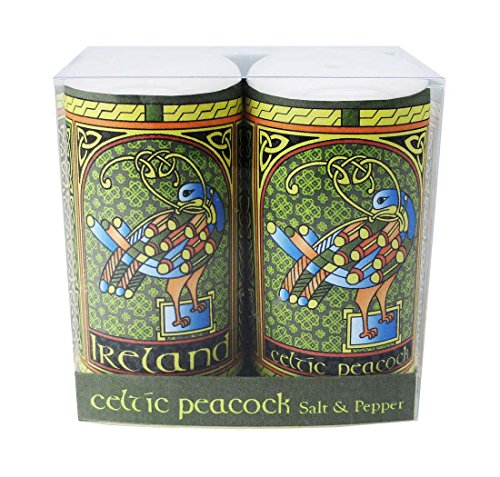 Celtic Peacock Ireland Salt & Pepper Shaker With A Coloured Trinity Irish Design