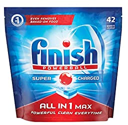 Finish All In One Max Super Charged PowerBall Dishwasher Tablets, 42 ct