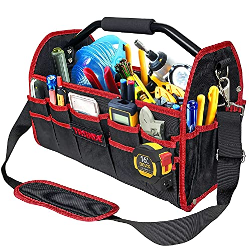 """19"""" Electrician Open Top Tool Tote Bag, 600D Reinforced Material Tool Carrier with 16 External Pockets, Steel Handle and Shoulder Strap"""