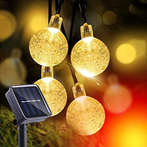 Solarlichterkette Außen 30 LED Lichterkette 8m Kugel Außen solarlichterkette außen warmweiß lichterkette außen zeitschaltuhr Solar Lampions Außen Wetterfest Lichterkette Batterie Solar Lichterkett
