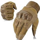 WTACTFUL - Guantes de dedo completo y medio dedo para motocicleta, ciclismo, escalada, senderismo, caza, deportes al aire libre, color Mejorado - Marrón, tamaño large