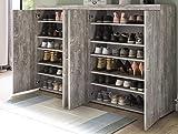 Schuhschrank Doppel Beton Schuhregal Schuh Kommode betonfarbig - (3737)