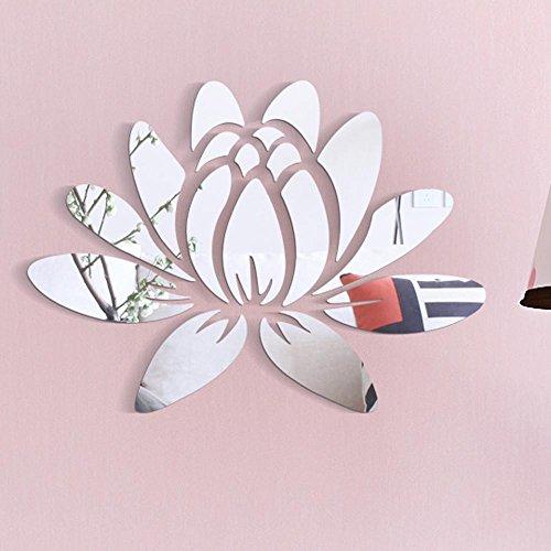 3D DIY Spiegel Wanddeko Wandaufkleber Lotus Acryl Spiegel Aufkleber Abziehbild Fenster Wand Dekor für Wohnung Schlafzimmer Raumdekoration Hochzeit Badezimmer