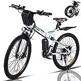 VIVI Bicicleta Electrica Plegable 350W Bicicleta Eléctrica Montaña, Bicicleta Montaña Adulto Bicicleta Electrica Plegable 26', Batería de 8 Ah, 32 km/h Velocidad MÁX (Blanco)