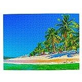 Rompecabezas de República Dominicana, 500 piezas para adultos y niños de madera regalo recuerdo 20.5 x 15 pulgadas (FX01562)