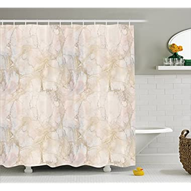 Ambesonne Marble Shower Curtain, Pink and Peach Marble Background with Crack Patterns Architecture and Building Material, Fabric Bathroom Decor Set with Hooks, 70 Inches, Beige