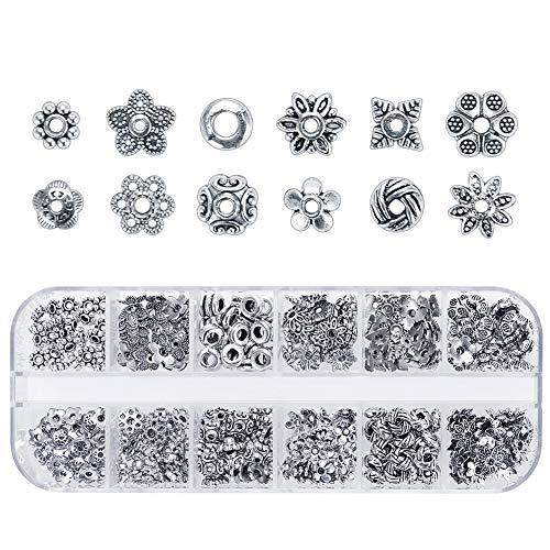 Keyzone 360 Stück Zwischenperlen Metallperlen Perlenkappen Antikes Silber Spacer Perlen von 12 Stilen Schmuck Zubehör für Armband DIY Schmuckherstellung Weihnachten Dekoration Schmuck Set