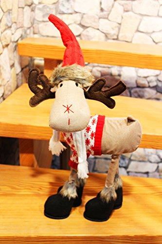 KAMACA XL Weihnachts Deko ELCH/RENTIER aus Stoff mit knuffigem Outfit Dekoidee oder zum Verschenken zu Winter Weihnachten (Rentier mit Pulli und Zipfelmütze)