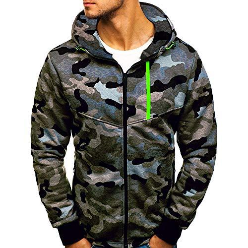 Men Long Sleeve Autumn Winter Camouflage Sweatshirt Hooded Top Blouse Coats by LuckyGirls