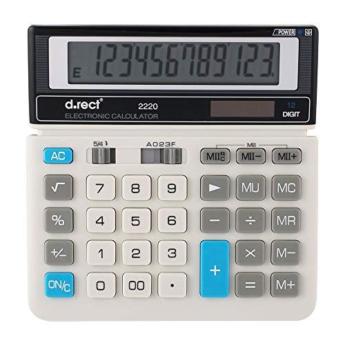 D.RECT 2220 rekenmachine, Dual Power (zonne-energie en batterij) 12-cijferige