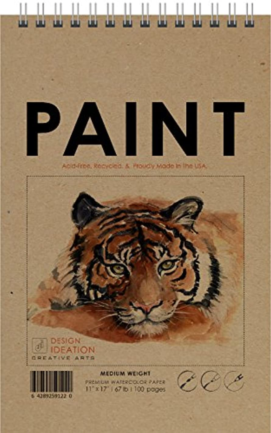Made in The USA: Premium Paper Paint Book for Pencil, Ink, Marker, Charcoal and Watercolor Paints. Great for Art, Design and Education. (100 Pages/50 Sheets)