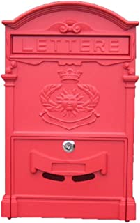 Tingting Mailbox Letter Box Post Box Outdoor Villa Waterproof Wall Hanging with Lock Suggestion Box Vintage Country Style (Color : Red, Size : 26941cm)