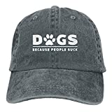 Hoswee Unisex Kappe/Baseballkappe, Dogs Because People Suck Denim Hat Adjustable Cute Baseball Hats