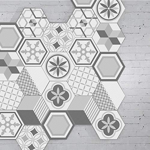 Prior.choice - Adhesivo para Azulejos (10 Unidades), diseño de hexágono marroquí, Color Gris