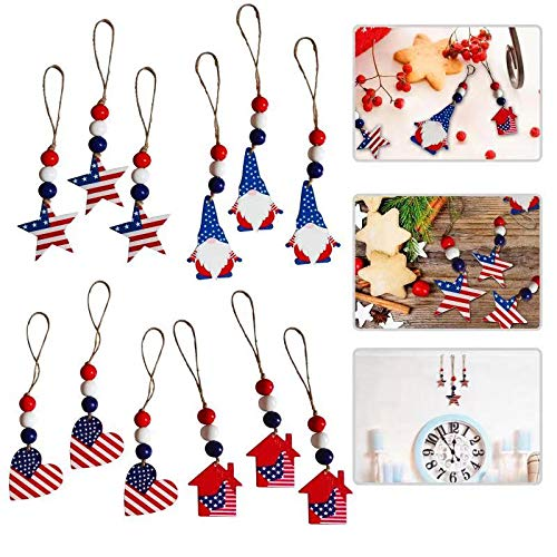 TSIN12PCS Independence Day Hanging Ornaments Wooden Tag 4th of July Patriotic Day Flag Beaded Crafts Home Decorations ,for Festivals Party Memorial Day Indoor Outdoor Christmas Tree Decorations