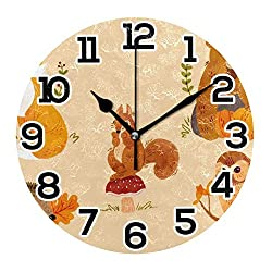 Wall Clock Forest Bunny Fox Bear Hedgehog Squirrel Owl Round Acrylic Clock Black Large Numbers Silent Non-Ticking 9.45 Clock Decorative Retro Battery Operated Clock for Home School Hotel Library
