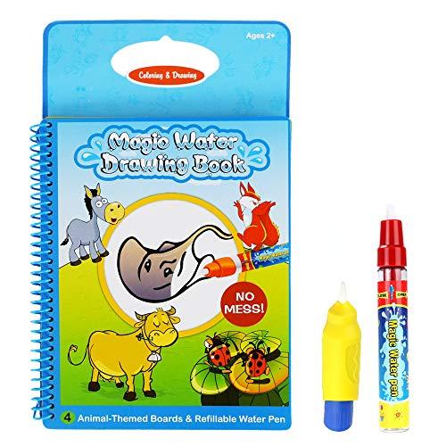Aqua Travel Doodle, Wassermagie Zeichnen Färben Aktivität Mehrfarbiges wiederverwendbares Buch mit zwei magischen Wasserstiften für Kleinkinder Kinder 2 Jahre Plus Qualität Rangebow Produkt (Tierbuch GC00601)