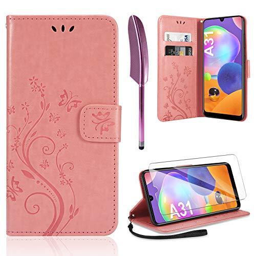 AROYI Lederhülle Samsung Galaxy A31 Hülle + HD Schutzfolie, Samsung Galaxy A31 Flip Wallet Handyhülle PU Leder Tasche Hülle Kartensteckplätzen Schutzhülle für Samsung Galaxy A31 Rosa