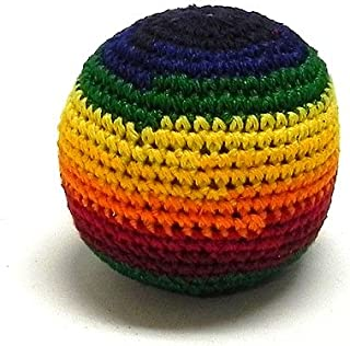 Mia Jewel Shop Guatemalan Handcrafted Crochet Pattern Hacky Ball Foot Bag Sack Rainbow Stripes