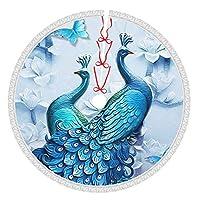 ブルー 孔雀 (4) クリスマスツリースカート 円型 クリスマス 立体飾り ツリースカート敷物 クリスマスパーティー 豪華 可愛い 雰囲気 カーペット ラウンド フロアマット インテリア 飾り