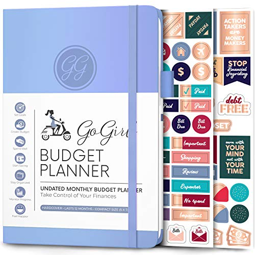 """GoGirl Budget Planner - Monthly Financial Planner Organizer Budget Book. Expense Tracker Notebook Journal to Control Your Money. Undated - Start Any Time, 5.3"""" x 7.7"""", Lasts 1 Year - Light Blue"""
