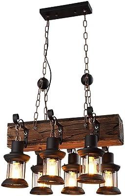 Lustre Antique Industrial Island faisceau lin/éaire en bois Lustre 8 Lampe Lustre Retro Design roue en bois D/écoration Caf/é Salon Salle /à manger,110V//E26