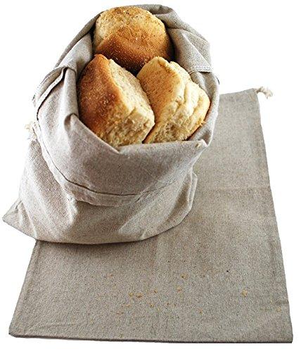 SweetNeedle - Paquet de 2 sacs de stockage de pain surdimensionnés pour pain maison, 38x33 cm, stockage de nourriture réutilisable, pendaison de crémaillère, cadeau, fête. En lin lin respirant