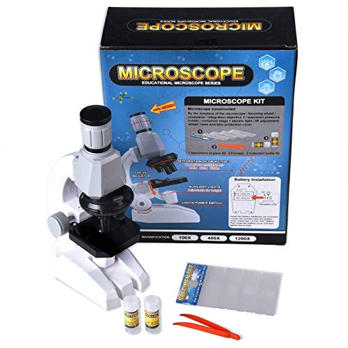 Kid's Microscop, Science Microscope Kits for Beginner with LED 100X, 400x, and 1200x Magnification, Children's Science Toys for Boys Girls Students