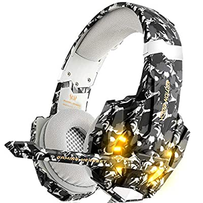 Willnorn Gaming Headset for PS4 Xbox One PC, Noise Cancelling Over-Ear Headphones With Mic 3.5mm Jack Volume Control LED Light for Laptop Tablet Mac Smart Phone(Gray camouflage)