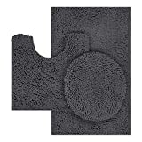 TREETONE Chenille Bath Mat 3 Piece Bathroom Rugs Set , 20x20 Inchs U-Shape Contoured Toilet Mat & 20x32 Inchs Rug & 1 Lid Cover ,Soft ,Water Absorbent Rugs for Tub Shower & Bath Room - Charcoal Gray