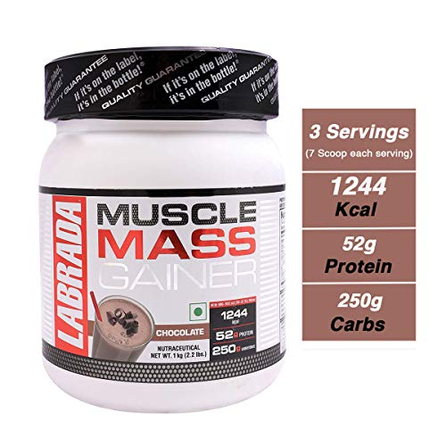 7. Labrada Muscle Mass Gainer (Gain Weight, Post-Workout, 52g Protein, 250g Carbs,1g Creatine, 500mg L-Carnitine, 3 Servings) - 2.2 lbs (1 kg) (Chocolate)
