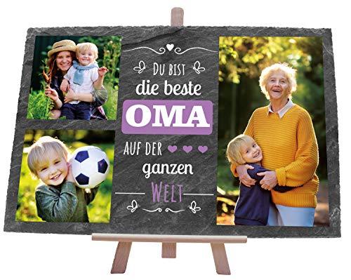 wandmotiv24 Schiefertafel Beste Oma, Mit Ihrem Foto Bedrucken Lassen, 3 Farbfotos mit Spruch, Holz-Staffelei zum Aufstellen, Querformat 30x20cm, Vintage Natur Schieferplatte, Fotogeschenk