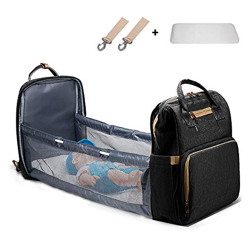 Multifunctional Travel Bassinet Foldable Baby Bed,Portable Diaper Changing Station Mummy Bag Backpack, Travel Crib Infant Sleeper,Baby Nest with Mattress (Black)