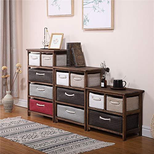 CHENSHJI Dresser Storage Tower Wooden Storage Shelves with Drawer Wooden Basket Storage Chest Baskets Brown (Color : Brown, Size : Two floors)