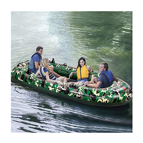 4-Person 10Ft Inflatable Boat Series Kayak Challenger Rafting Water Sports Inflatable Boat Canoe (Green, one Size)