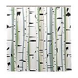 JOOCAR - Cortina de ducha con diseño de bosque denso de árboles, tela impermeable, juego de decoración de baño con ganchos