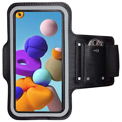 CoverKingz Armtasche für Samsung Galaxy A21s Sportarmband mit Schlüsselfach, Laufarmband Fitness, Handy Armband Schwarz