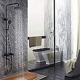Ducha Negro Juego de ducha de ducha de acero inoxidable Pintura en aerosol pintada en frío caliente Ducha termostática Baño Sistema de ducha de mano caliente y frío Juego de ducha