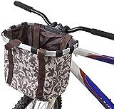 Sgualie Bike Basket Mascotas, Perros y Gatos Mochila de Transporte al Aire Libre Bolso de Mano Manillar Delantero Correa para el Hombro Robusto Estable (Negro), Beige, 35 * 27 * 26cm