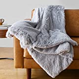 Amazon Basics Shaggy Long Fur Faux Fur Sherpa Throw Blanket, 50'x60' - Light Grey
