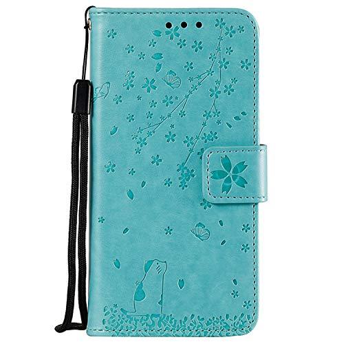 Miagon Gaufrage Coque pour Samsung Galaxy S7,Rétro Emboss Flip Housse Coque Etui PU Cuir Chat Papillon Fleur Supporter Magnétique Case,Vert