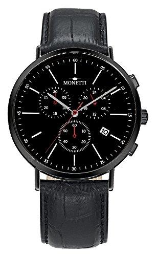 MONETTI Cronografo da uomo - Quarzo Classic - con quadrante nero - data - cinturino nero in vera pelle - nella scatola regalo!